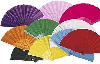 Lote 24 Abanicos de plástico con tela colores surtidos. Abanicos para eventos detalles para los invitados boda comunión...