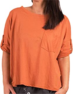 RkYAO Womens Pure Colour Casual Short Sleeves Relaxed Simple Blouese Tops