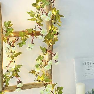 Simulation Rose String Lights Hanging Vines Plant Garland Silk Artificial Flower Vines Light Battery Powered for Home Gard...