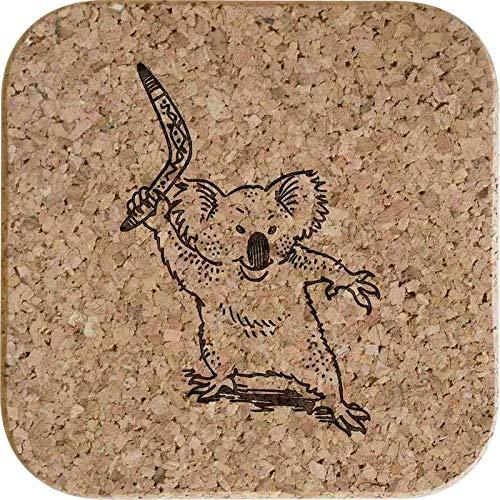 Azeeda 4 x 'Koala Mit Bumerang' Quadratische Korkuntersetzer (CR00159304)