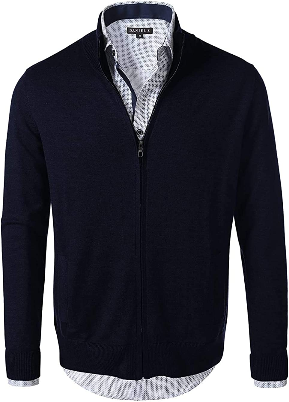 7 Encounter Men's Vintage Zipper Front Cardigan Sweater