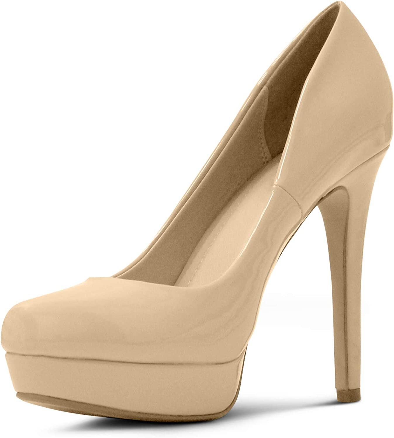 MARCOREPUBLIC Johannesburg Almond Toe High Heels Platform shoes Stiletto Dress Pumps - (Dark Beige Patent) - 11