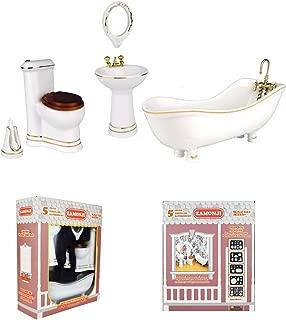 Zamonji 5 pcs Porcelain Gold Rim Dollhouse Furniture Bathroom Set - Tub, Sink, Toilet, Mirror, Brush Holder