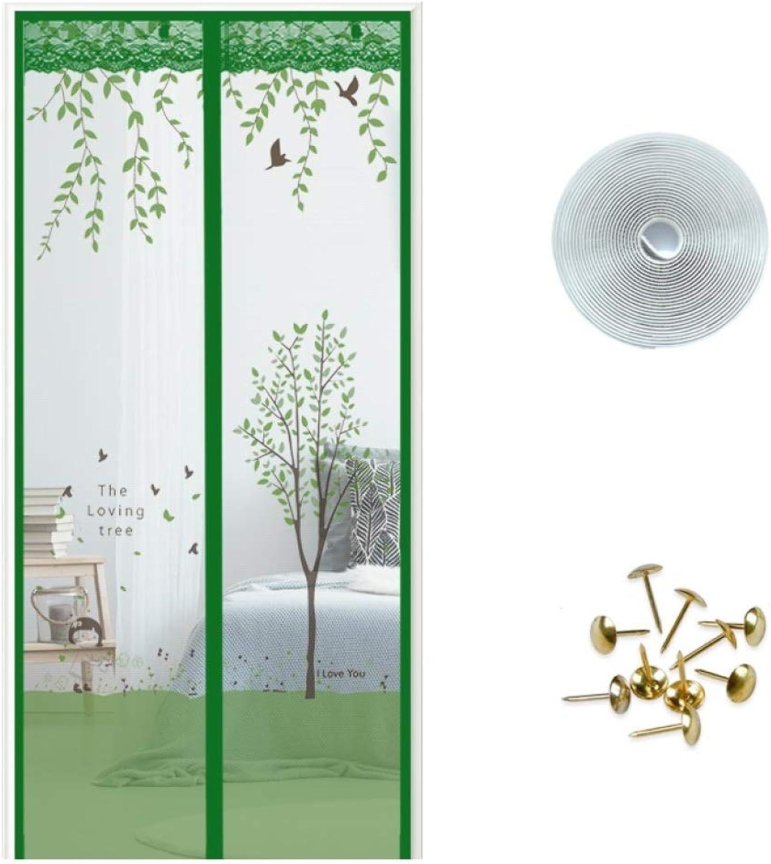 YSHCA Magnetic Screen Door Polyester Mesh, No Gap Mesh Curtain Screen Door, Durable Hands Free, for Patio Door, Keep Indoor Air Fresh,Green_120x210CM