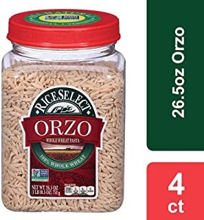 RiceSelect Whole Wheat Orzo, 26.5 oz Jar (Pack of 4)