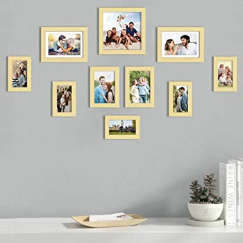 Art Street Set of 10 Beige Wall Photo Frame, Picture Frame for Home Decor with Free Hanging Accessories (Size -4x6, 5x7, 6x8,8x8 Inchs)