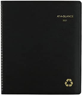 """2021 Monthly Planner by AT-A-GLANCE, 9"""" x 11"""", Large, Recycled, Black (70260G0521)"""