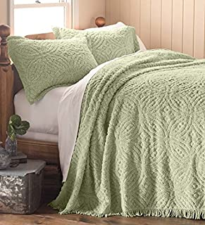 Plow&Hearth Twin Wedding Ring Tufted Chenille Bedspread, in White