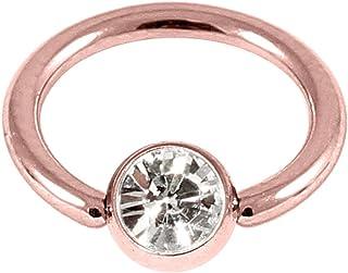 De acero de color oro rosa Zircon buy BCR con cristal gema clara. 1,2 mm de calibre, 10 mm de diámetro interior. Anillo de cierre de la bola. Bueno para nariz, oreja, pinna, oído, ceja.