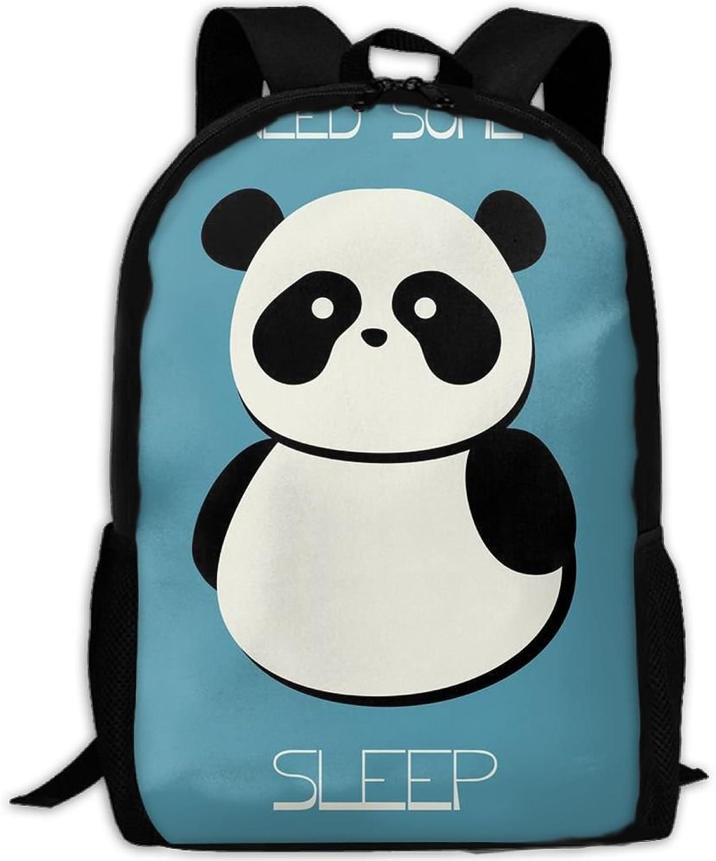 Backpack Laptop Travel Hiking School Bags Panda Needs More Sleep Daypack Shoulder Bag