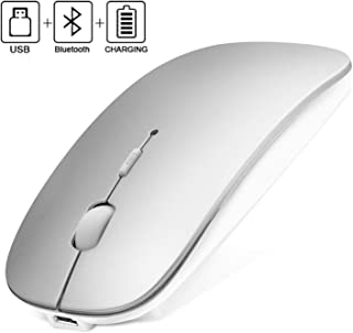 BluetoothWireless Mouse, 2.4GHz Rechargeable Dual-Mode Ultra-Thin Silent Mouse, 3 Adjustable DPI, for PC, Laptop, Mac, Android