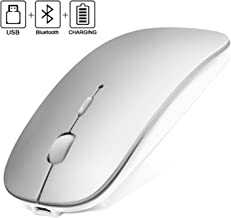 Bluetooth Wireless Mouse, 2.4GHz Rechargeable Dual-Mode Ultra-Thin Silent Mouse, 3 Adjustable DPI, for PC, Laptop, Mac, Android