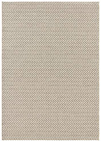 Elle Decor Flachgewebter In- und Outdoor Teppich im Handmade-Look Caen Creme, 80x150 cm