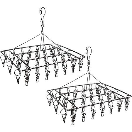 Égouttoir à Chaussettes en Acier Inoxydable avec 36 Clips de Suspension à Linge Durable avec Crochet pivotant à 360 ° et Crochet Coupe-Vent pour Chaussettes, Soutien-Gorge, sous-vêtements, (Lot de 2)