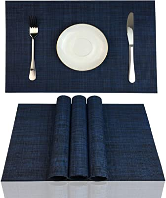ZX VISION Heat Resistant Placemats for Dining Tbale Woven Vinyl Washable Place Mats Wipe Clean PVC Table Mats,Set of 4,Best Gift(Navy Blue)