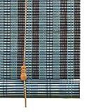 Persianas Enrollables de Madera Azul, Cortina de Bambú con Accesorios de Instalación, Ideal para...