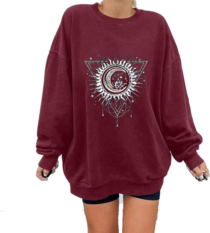 Sweatshirts For Women Hoodie, Oversized Sweatshirt Vintage Graphic Long Sleeve Casual Loose Crewneck Pullover Tops