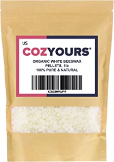 Cozyours White Beeswax Pellets (1 LB), Natural, Organic, Pure, for Crafts and Cosmetic Making