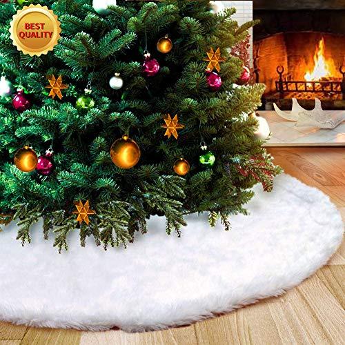 STCLIFE Falda del árbol de Navidad, 38 Inch/90 CM Snowy White Faux Fur Cubierta de Base Arbol para Navidad Fiesta de año Decoración de Vacaciones (h-Blanco)