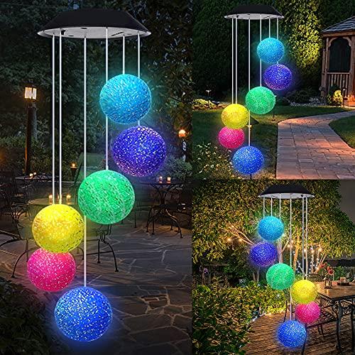 SaponinTree LED Solar Wind Glockenspiel, Solarbetriebenes Windspiel mit 6 Kristallkugeln, Romantische Windspiel Lampe Mit Haken, Hängelampe Lichterkette Kristalle für Terrasse/Gartenparty/Baum