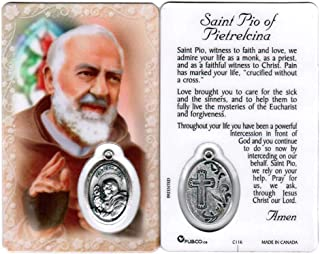 Saint Padre Pio of Pietrelcina Holy Card with Medal   Patron of Stress Relief