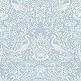 Brewster 2766-24698 Elegans Crane Toile Wallpaper, Light Blue