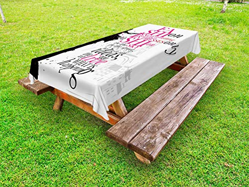 ABAKUHAUS Tour Eiffel Nappe Extérieure, Mots Paris Fille, Nappe de Table de Pique-Nique Lavable et Décorative, 145 cm x 265 cm, Rose Noir