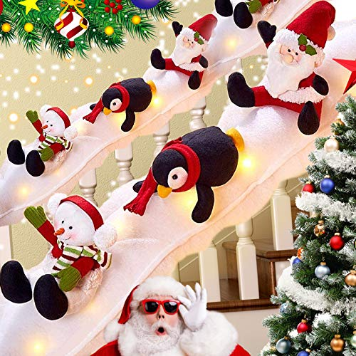 DAVID ROCCO Decorative Holiday Snow Surfing Set-Railing Banister Set Decoration -Stairs Decoration Sliding Penguin /Santa /Snowman Surf on Fluffy Snow Covered in Lights Indoor Outdoor XmasStaircase