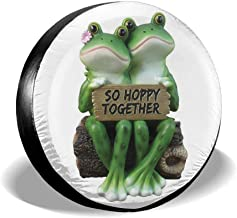 Dark Marlin Spare Tire Cover Happy Frog Couple So Hoppy Together Printed Univesal Tire Cover for Jeep, Trailer, RV, SUV, Truck Wheel and Many Vehicle 14