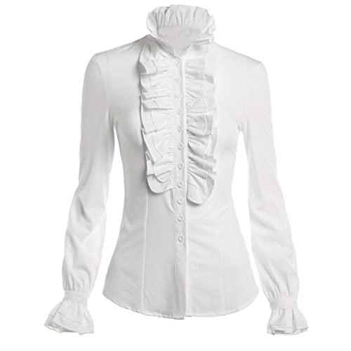 ea70e43bb8e90d DEARCASE Women s Stand-Up Collar Lotus Ruffle Shirts Blouse White XL