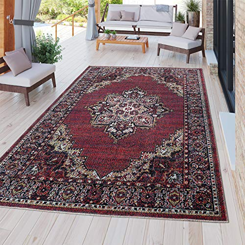 TT Home Alfombra Moderna Resistente Exterior E Interior Diseño Persa En Rojo, Größe:60x100 cm
