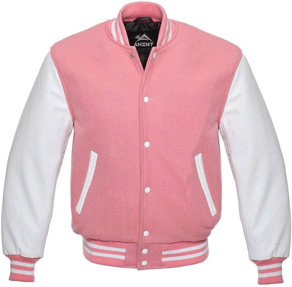 Bomber Jacket Baseball Letterman Varsity Jackets Genuine Leather Sleeves and Wool Color Options