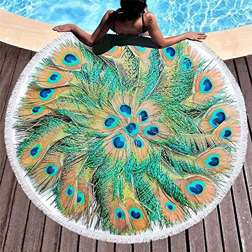 DKEE Toallas de Playa Tapiz De Playa Redondo Hippie/Boho Mandala, Manta India Manta De Playa Y Toalla De Viaje Paño De Mesa Meditación Estera De Yoga Colgante De Pared Natación Piscina Mantón De CAM