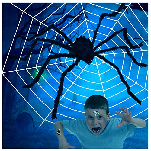 Joyjoz Halloween Deko Spinnennetz Riesen Spinne Halloween Dekoration Spinnenweben Für Halloween Party Props