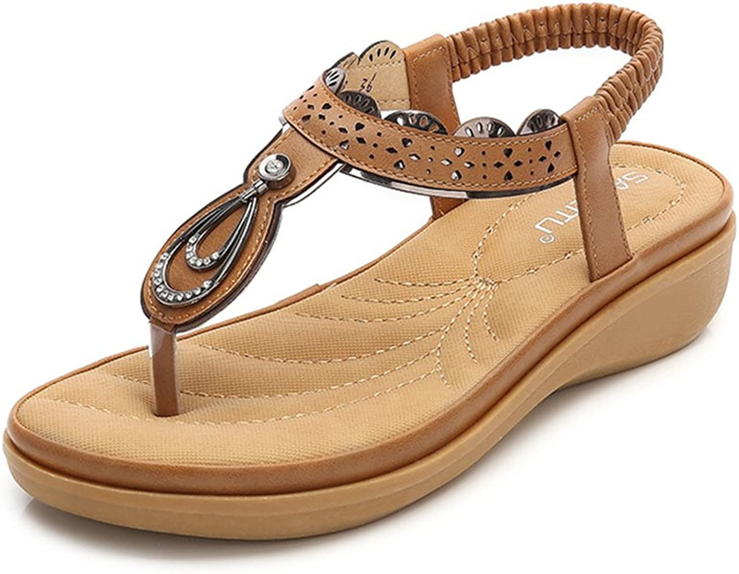 Tuoup Women's Leather Anti-Skid Flat Sandles Beach Thong Sandals
