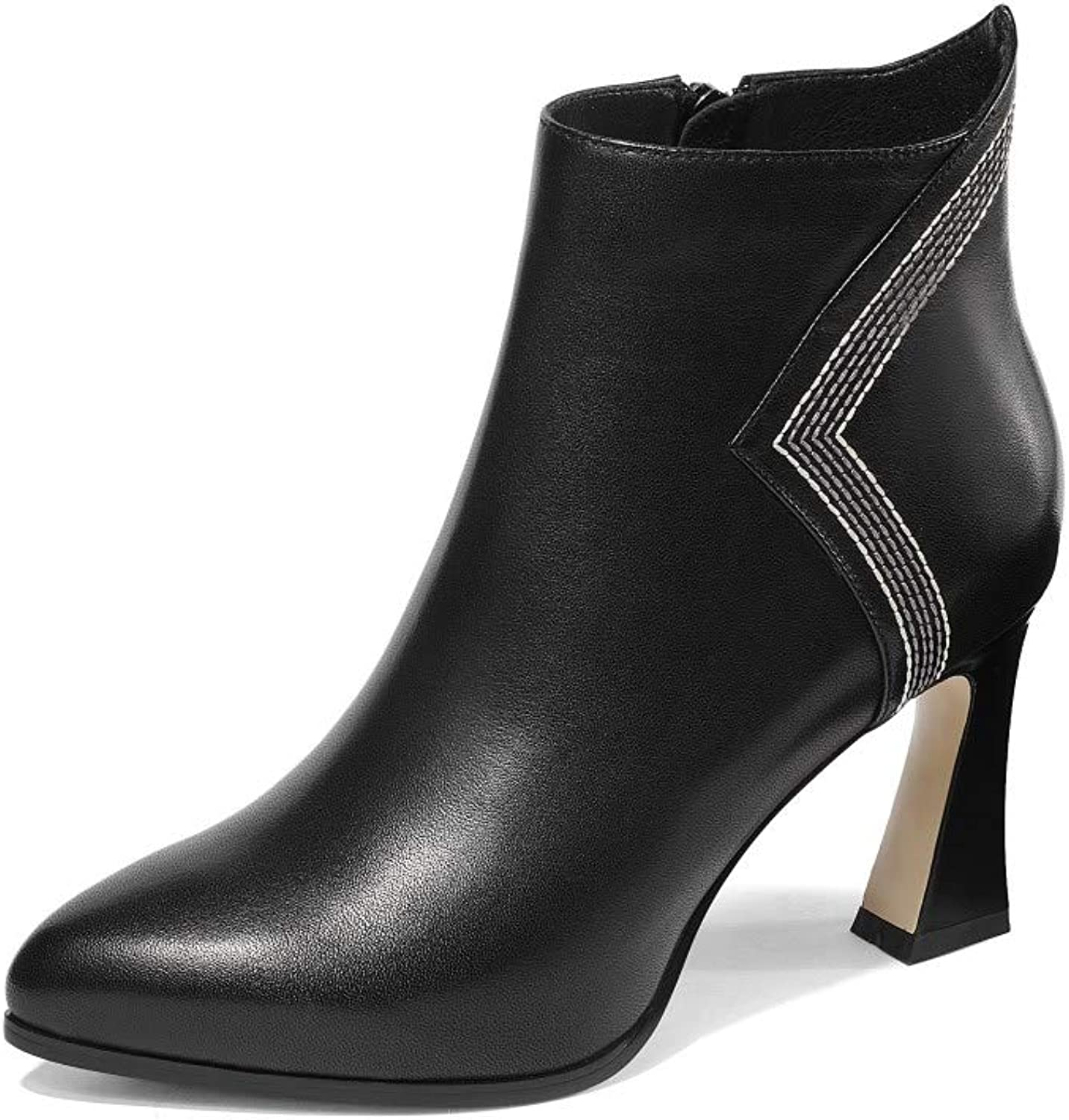 Nine Seven Women's Genuine Leather Pointed Toe High Chunky Heel Side Zipper Handmade Comfort Ankle Boots