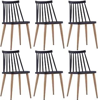 Festnight 6 Unidades Sillas de Comedor de Plástico y Acero Color Negro 42 x 45,5 x 78 cm, Sillas de Cocina