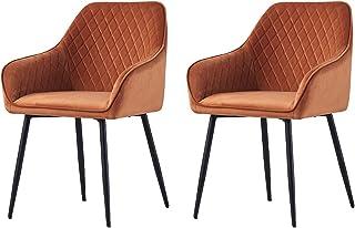 JYMTOM Lot de 2 Chaises en Velours au Style Moderne avec Dossier et Accoudoirs et Des Pieds en Métal (Orange)