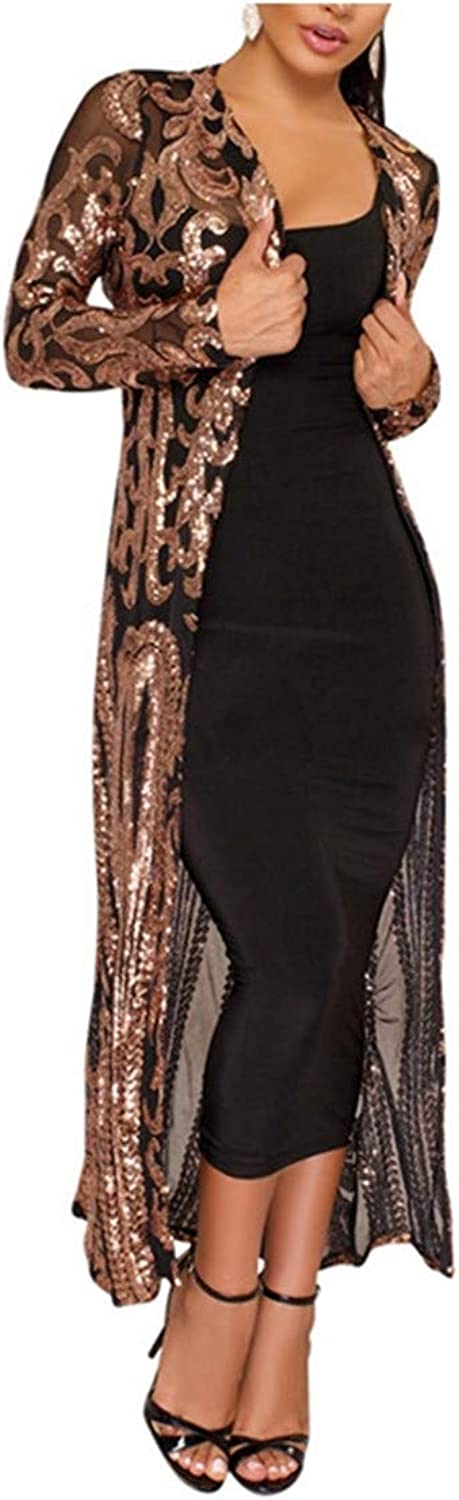 Nerefy Women Sequined Jacket Mesh See Through Long Coat Full Sleeve Maxi Party Club Top
