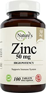Zinc 50mg, [High Potency] Supplement for Men & Women - Promotes Immune System - Helps with Acne - Natural Zinc from (oxide / citrate) 100 Tablets, Made by Nature's Potent.