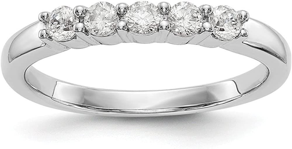 14k White Gold 5 Stone Diamond Wedding Ring Band Size 7.00 Bridal Fine Jewelry For Women Gifts For Her