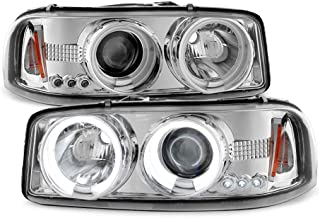 ACANII - For 1999-2006 GMC Sierra 1500 Yukon Denali LED CCFL Halo Chrome Housing Projector Headlights Headlamps Assembly