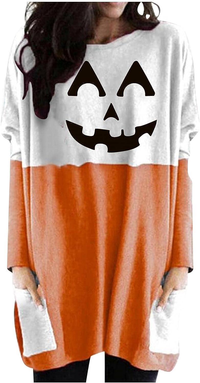 felwors Halloween Sweatshirt for Women, Womens Pumpkin Print Casual Long Sleeve Shirts Oversized Tunic Tops with Pocket
