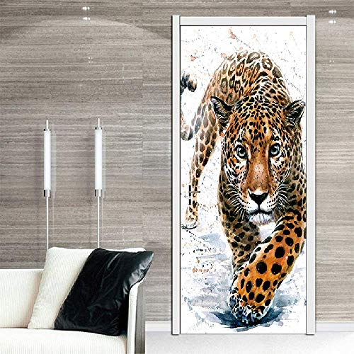 PYUK Animal Walking Cheetah Luipaard Deur Stickers Schilderen Behang Poster Panter Muursticker Slaapkamer Woonkamer Woonkamer Woonkamer Decoratie