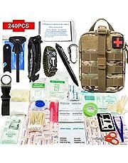 240-delige outdoor survival EHBO-set IFAK Molle-systeem compatibel outdoor uitrusting noodgevallen sets voor reddingsdiensten, camping, boot, jacht, wandelen, huis, auto, aardbevingen en avontuur (zwart)