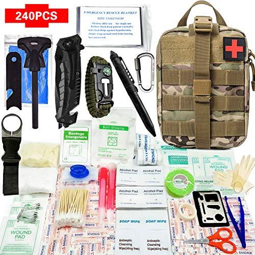 Kit de survie d'urgence 240 en 1 Avec Équipement de plein air,Couteau de Survie,Lampe de Poche,Allume Feu,carte-outil polyvalente,camping,couverture de secours,Paracorde pour randonnée etc (CP)