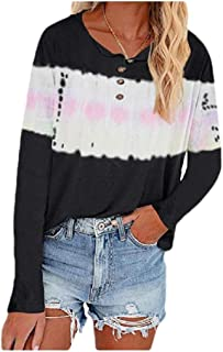 HEFASDM Women Buttoned Plus-size Blouse Tie Dye Casual Long-Sleeve Tees Top