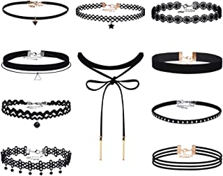 Black Velvet Choker Necklaces Set Gothic Tattoo Stretch Lace Choker Necklace with Pendant for Women Girls, 10 Pieces