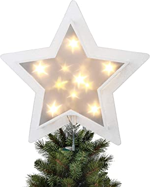EAMBRITE Holographic Star Christmas Tree Topper Glittering Starburst Treetop Light with 11 Warm White Twinkle Led Light