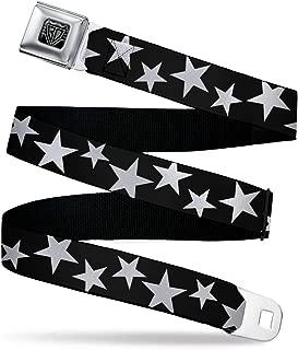 Men's Seatbelt Belt Kids, Multi Stars Black/White Outline, 1.0